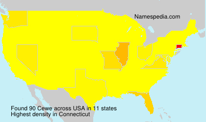 Surname Cewe in USA