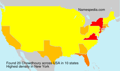 Surname Chowdhoury in USA