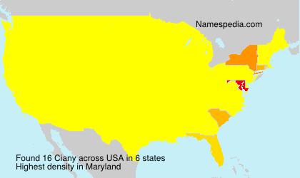 Familiennamen Ciany - USA