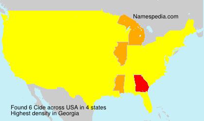 Familiennamen Cide - USA