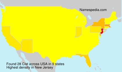 Familiennamen Cist - USA