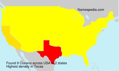 Surname Ciurana in USA