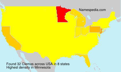 Surname Clemas in USA