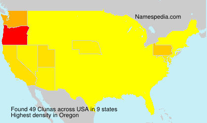 Surname Clunas in USA