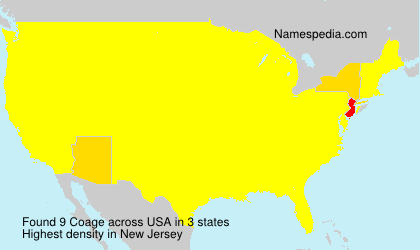 Surname Coage in USA