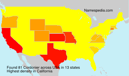 Surname Cordonier in USA