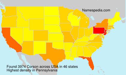 Surname Corson in USA