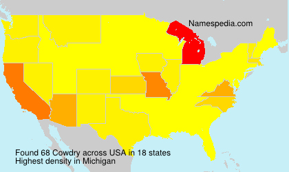 Surname Cowdry in USA