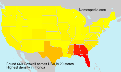 Surname Coxwell in USA
