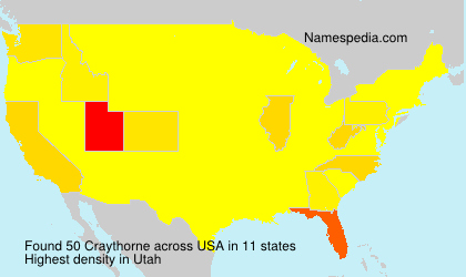 Surname Craythorne in USA