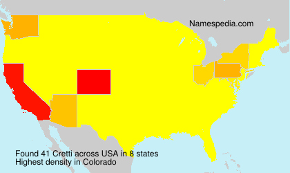 Surname Cretti in USA
