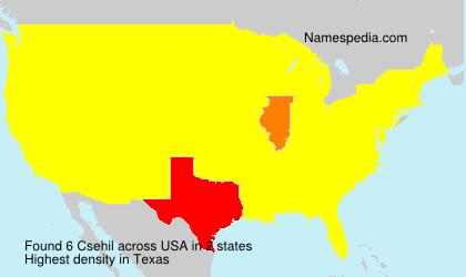 Familiennamen Csehil - USA
