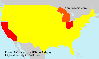 Familiennamen Csia - USA