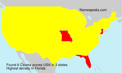 Familiennamen Csuma - USA