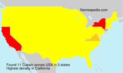 Surname Cubain in USA