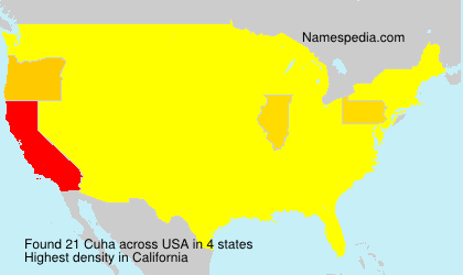 Surname Cuha in USA