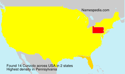 Surname Cunzolo in USA