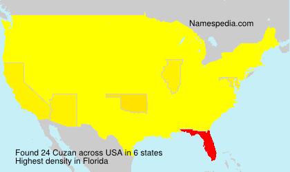 Familiennamen Cuzan - USA