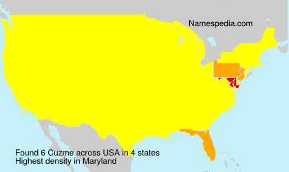 Surname Cuzme in USA