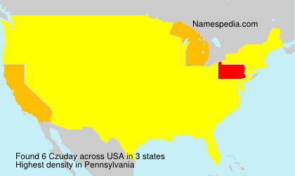 Surname Czuday in USA