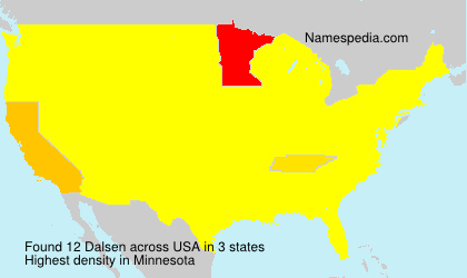 Surname Dalsen in USA
