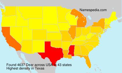 Familiennamen Dear - USA