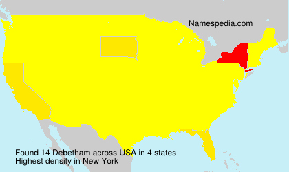 Surname Debetham in USA