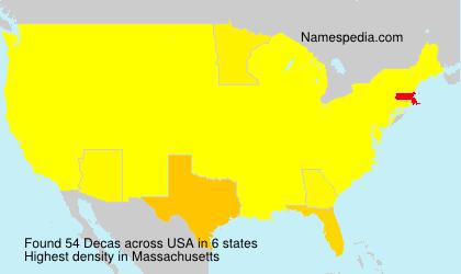 Familiennamen Decas - USA