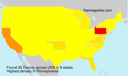 Familiennamen Decray - USA