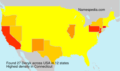 Surname Decyk in USA