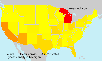 Familiennamen Defer - USA
