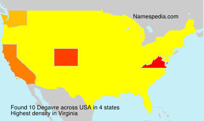 Familiennamen Degavre - USA