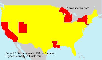 Familiennamen Denai - USA
