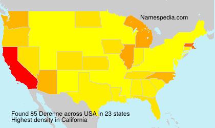 Familiennamen Derenne - USA