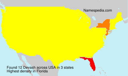 Surname Devash in USA