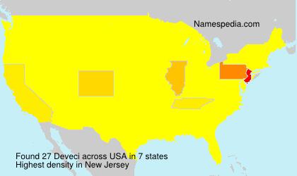 Familiennamen Deveci - USA