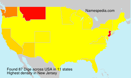 Familiennamen Dige - USA