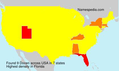 Familiennamen Docen - USA