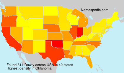 Familiennamen Dowty - USA