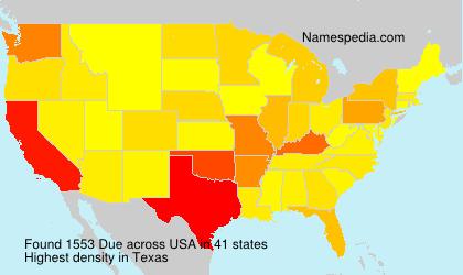 Familiennamen Due - USA