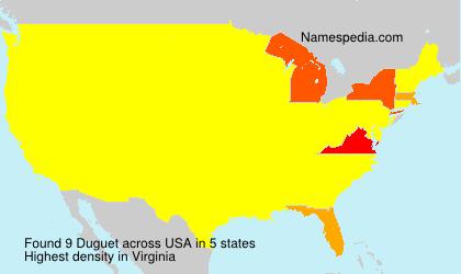 Surname Duguet in USA