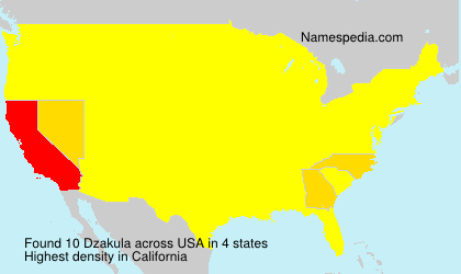 Surname Dzakula in USA
