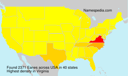 Surname Eanes in USA