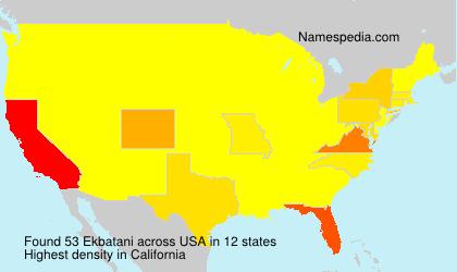 Familiennamen Ekbatani - USA