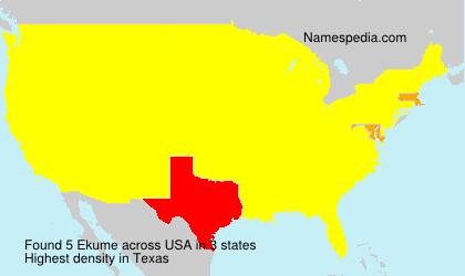 Familiennamen Ekume - USA