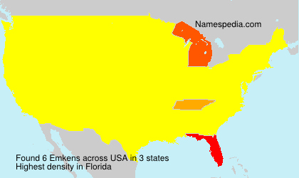 Surname Emkens in USA