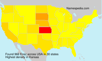 Surname Ensz in USA