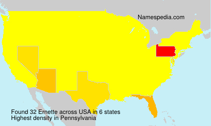 Surname Ernette in USA