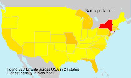 Familiennamen Errante - USA
