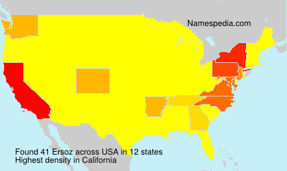 Surname Ersoz in USA